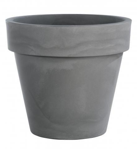 Runder blumentopf in einer fantastischen grauen farbe for Blumentopf grau